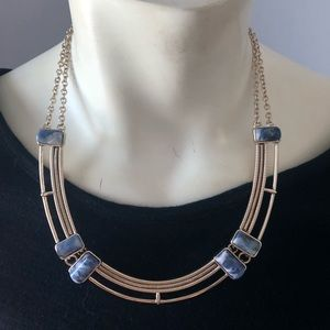 Stylish Gold necklace with blue stones
